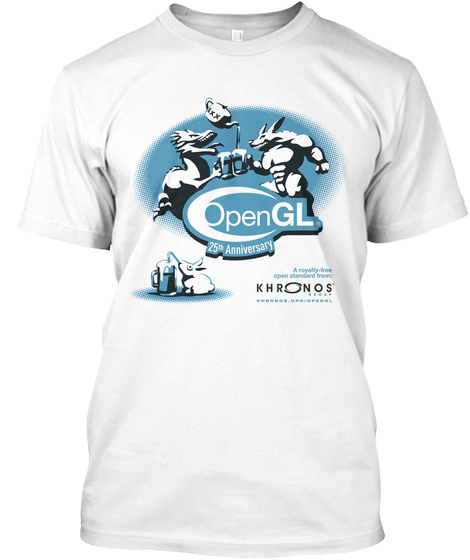 Open Gl 25th Anniversary Khronos Group White T-Shirt Front