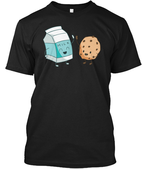 Milk   Cookies   Matching Pair Funny  Black T-Shirt Front