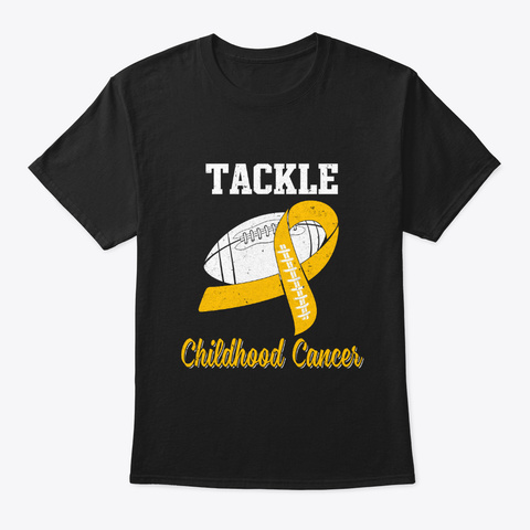 Football Survivor Childhood Cancer Black T-Shirt Front