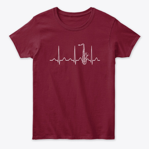 Saxophone Heartbeat Cardinal Red T-Shirt Front