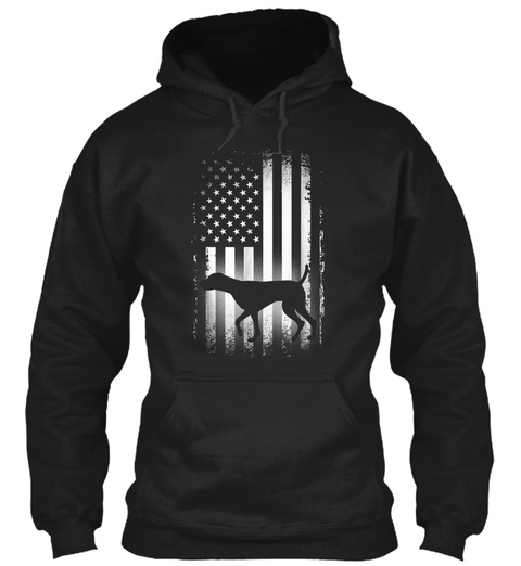 German Shorthaired Pointer American Flag Black T-Shirt Front