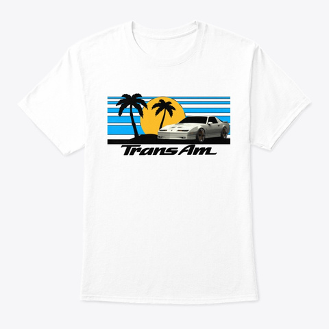 3rd Gen T/A  Sunset Palms Design White T-Shirt Front