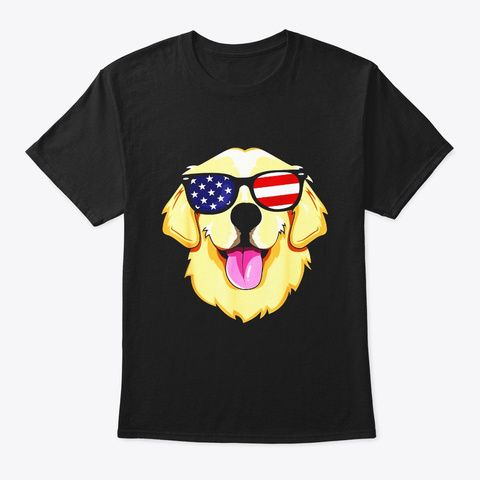 America Golden Retriever 4th Of July T Black T-Shirt Front