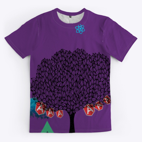Java Script Framework Tee: Glamping Purple T-Shirt Front