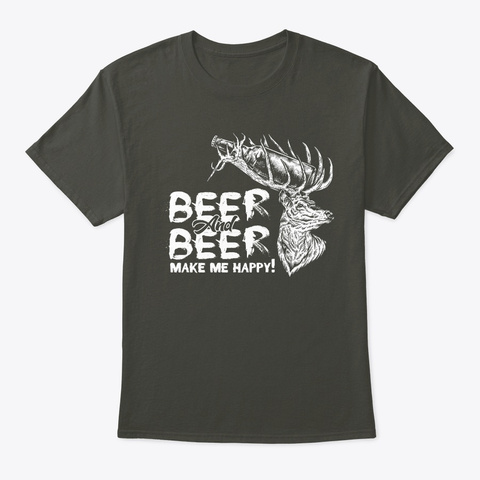 Beer &Amp; Deer   Hunting T Shirt Smoke Gray T-Shirt Front