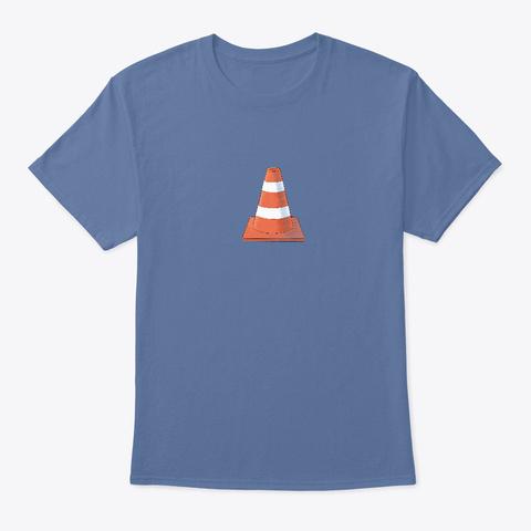 Caution Cone  Denim Blue T-Shirt Front