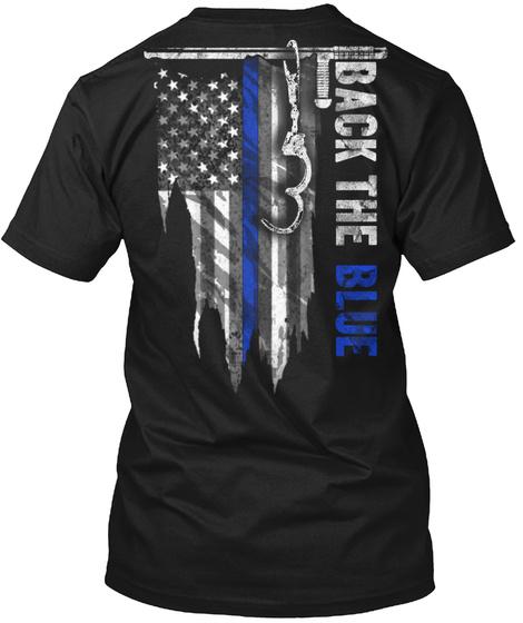 Back The Blue Black T-Shirt Back