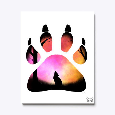 Wolf Pink Paw Print White T-Shirt Front