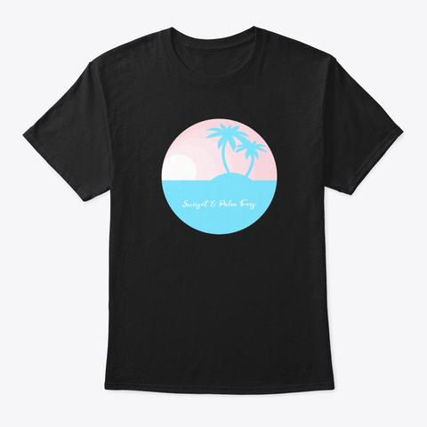 Sunset And Palm Trees Island Black T-Shirt Front