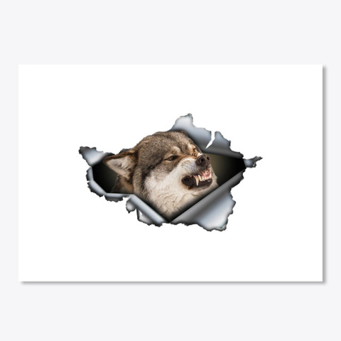 Angry Wolf Car Decal, Wolf Sticker ,  White T-Shirt Front