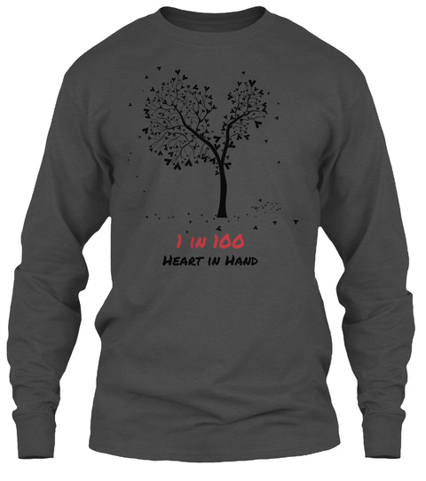 1 In 100 Heart In Hand Charcoal Long Sleeve T-Shirt Front