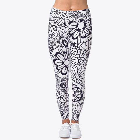 Abstract Flower Pattern Leggings Black T-Shirt Front