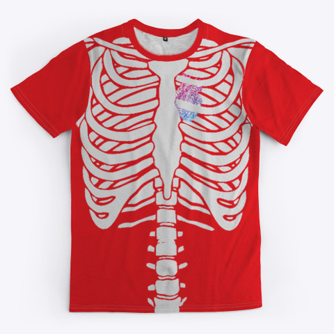 Chest Skeleton & Heart Red T-Shirt Front