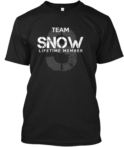 Team Snow Lifetime Member Black T-Shirt Front