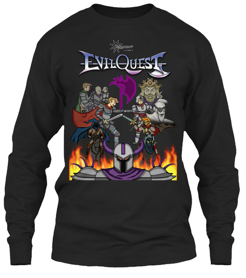 Evil Quest Box Art Long Sleeve Tee Black T-Shirt Front