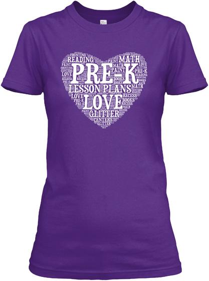 Reading Math Pre K Lesson Plans Love Purple Women's T-Shirt Front