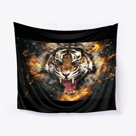 Tiger Face  Black T-Shirt Front