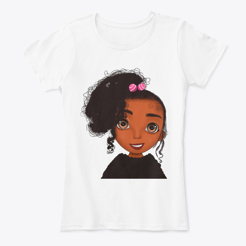 Colorful Bright Cute Curly Hair Kid Girl White T-Shirt Front
