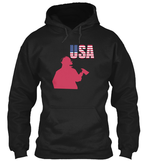 Independence Day Art Usa Firefighter 4th Black Sweatshirt Front