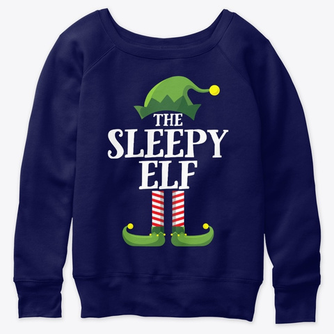 Sleepy Elf Matching Family Group Christm Navy  T-Shirt Front