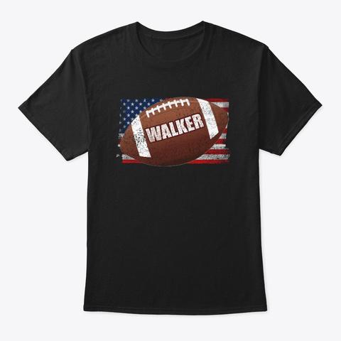 American Football Theme Walker Black T-Shirt Front