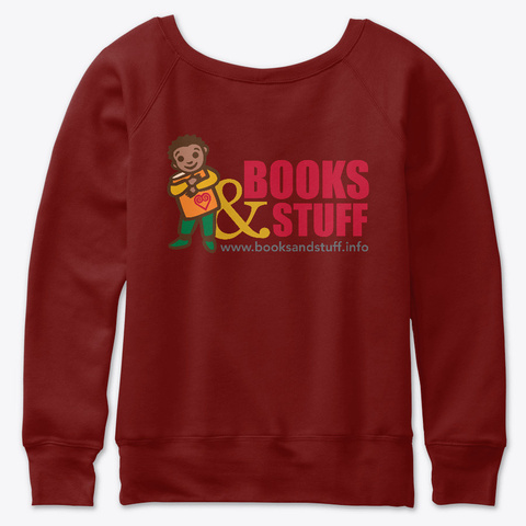 Books & Stuff Dark Red Triblend T-Shirt Back