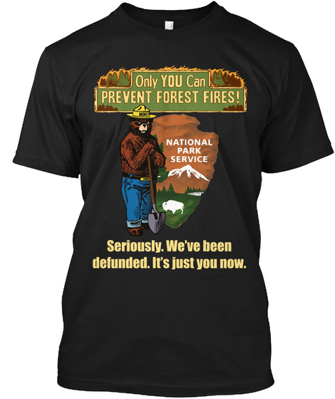 Only You Can Prevent Forest Fires! National Park Service Seriously. We've Been Defunded It's Just You Now Black T-Shirt Front
