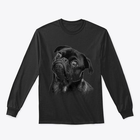 Concerned Pug Black T-Shirt Front