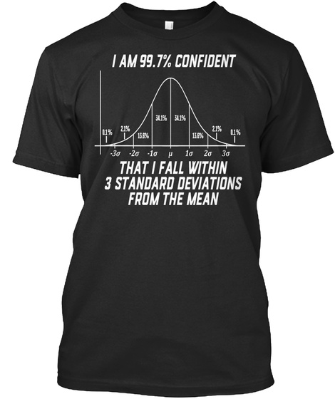 I Am 99.7% Confident That I Fall Within 3 Standard Deviations From The Mean Black Camiseta Front