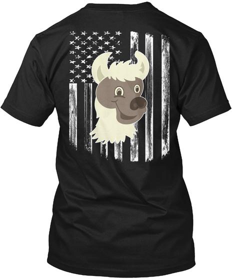 American Flag Llama 4th Of July Shirts Black T-Shirt Back