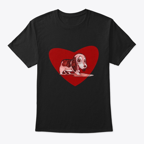 Beagle Heart Black T-Shirt Front