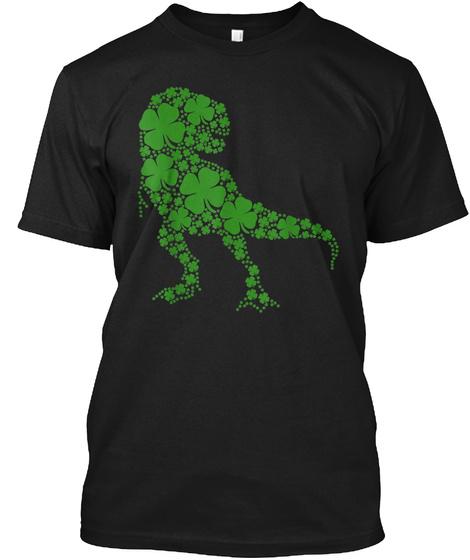 Cute T Rex Dinosaur Clover Irish Tshirt Black T-Shirt Front
