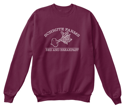 Schrute Farms Bed And Breakfast  Maroon  T-Shirt Front