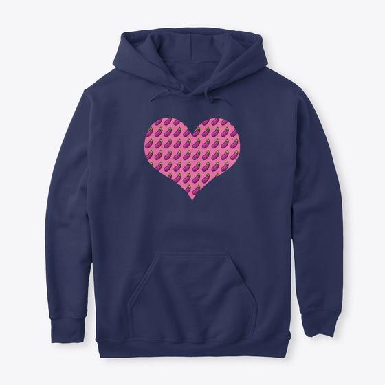 I Love Heart Eggplant Black Sweatshirt
