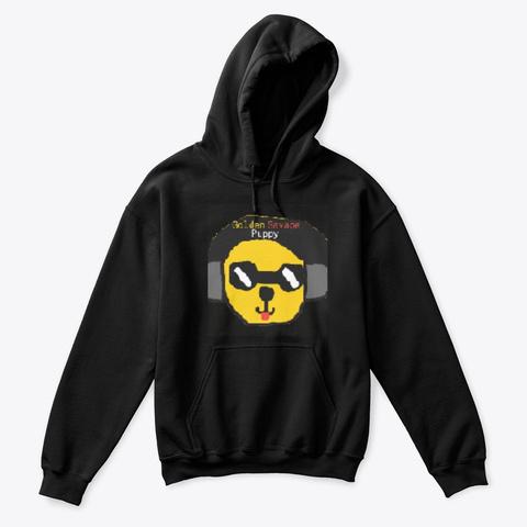 Golden Savage Puppy Kids Black Hoodie Black T-Shirt Front