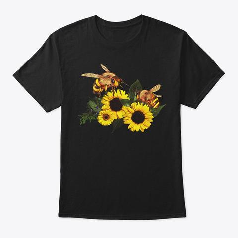 Comic Sunflower Bee Lover Gift Black T-Shirt Front
