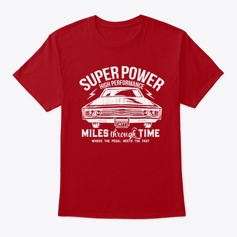 Super Power (White) Deep Red T-Shirt Front
