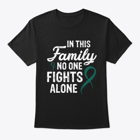No One Fights Alone Liver Cancer V2 Tee Black T-Shirt Front
