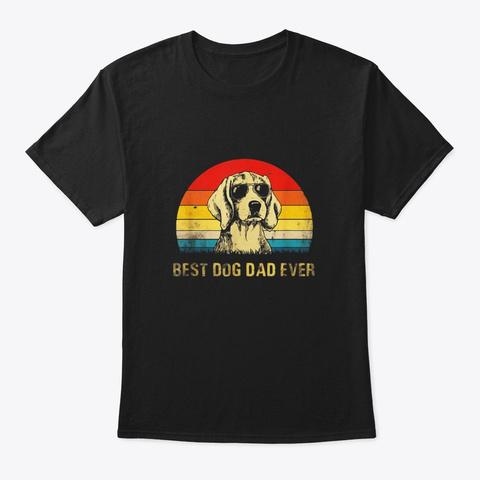 Vintage Best Beagle Dog Dad Ever T Shirt Black T-Shirt Front
