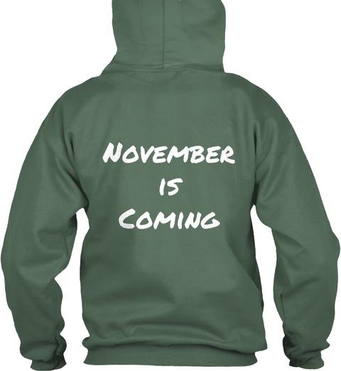 November Is Coming Moss Green T-Shirt Back