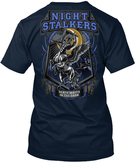 Night Stalkers Night Stalkers Death Waits In The Dark New Navy T-Shirt Back
