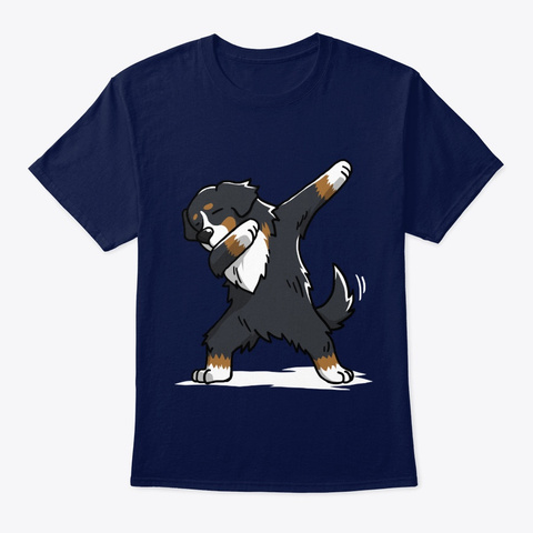 Dog Funny Dabbing Bernese Mountain Dog Navy T-Shirt Front