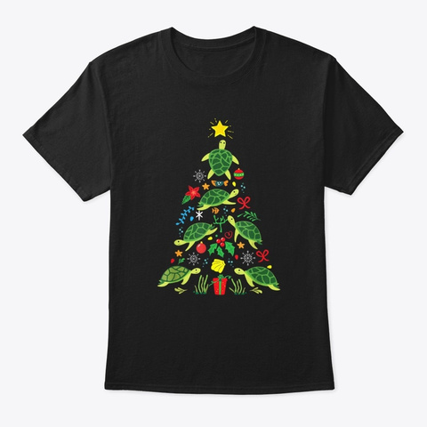 Funny Sea Turtles Christmas Tree Holiday Black T-Shirt Front