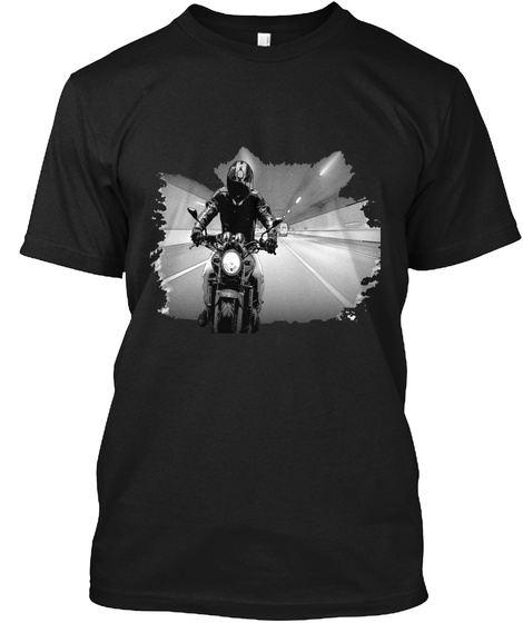 Man On Motorcycle T Shirt Black T-Shirt Front