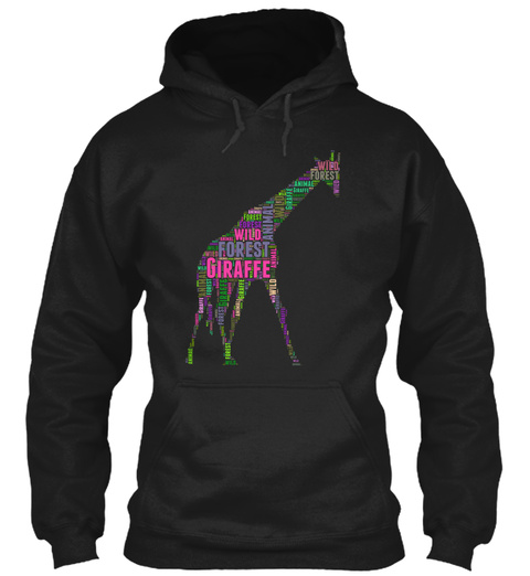 The Giraffe Art 2 Black T-Shirt Front