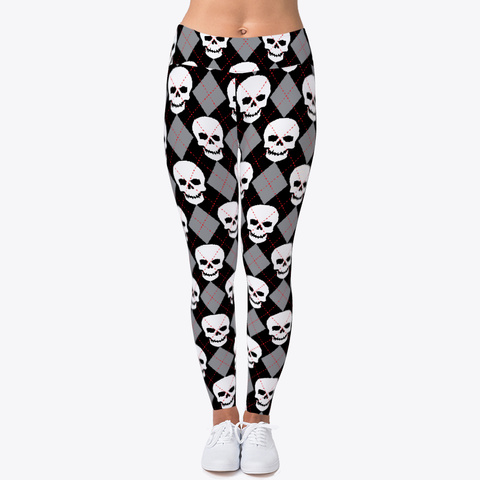 Ugly Sweater Leggings With Skulls Black T-Shirt Front