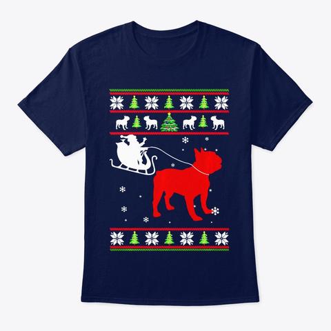 Santa Riding French Bulldog Christmas Navy T-Shirt Front