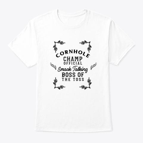 Cornhole Champion Retro Tournament  White T-Shirt Front