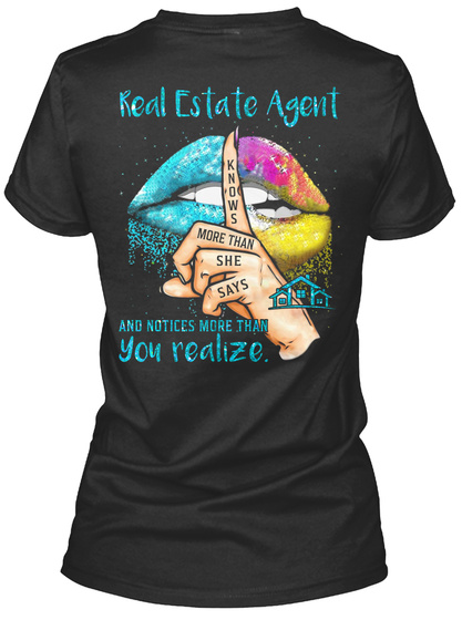 Awesome Real Estate Agent Black T-Shirt Back