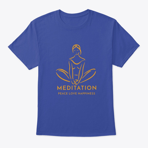 Meditation Sitting Pose Deep Royal T-Shirt Front